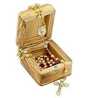 First Communion 礼品套装带珍珠念珠和橄榄木盒