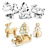 PPUNSON 3D 圣诞饼干模具套装 - 圣诞饼干雪人、雪人、雪人、麋鹿组合、8 只,不锈钢