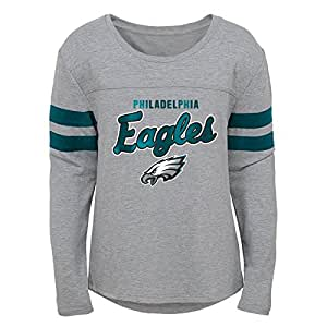 NFL by Outerstuff NFL Philadelphia Eagles 青年女孩*盔甲长袖蝙蝠 T 恤浅灰色,青少年 S 码 (7-8)