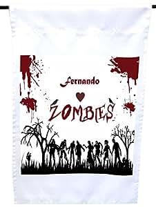 "Rikki Knight""Fernando Loves Zombies on Red Grunge 个性化名字居家或花园旗 30.48 x 45.72 cm 旗帜尺寸带 27.94 x 27.94 cm 图像"