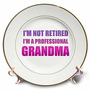 3drose inspirationzstore Typography–IM not retired IM A 专业奶*色和紫色有趣文本–盘子