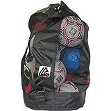 Amber Athletics 齿轮足球网设备包,带有可调节滑动的抽绳拉绳闭合网布设备包 10 个球