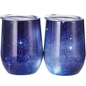 Skylety 340.19 克双绝缘玻璃,不锈钢杯带盖,*红色、咖啡色、饮料、香槟色、鸡尾*会,2 件套¡ 星空蓝 43397-32421