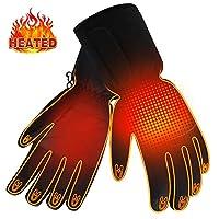 冬季可充电电热加热手套,男士女士电池供电加热手套,防水触摸屏保暖保暖手套,适合冬季运动户外攀岩徒步暖手