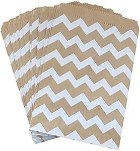 外包装纸 牛皮布棕色和白色 V 形图案圣诞袜 美国制造-包装盒 外包装纸商店 生日婚礼 婴儿派对包 48 件装牛皮棕色,白色