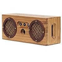 bongo 蓝牙木质便携式音箱 | 手工制作复古竹子无线设计 | 适用于旅行家居海滩厨房户外 | 增强低音双被动式低音炮 棕色