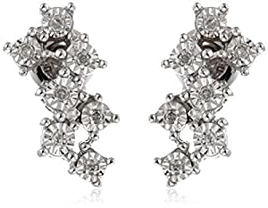 Sterling Silver Diamond-Accented Cluster Post Earrings