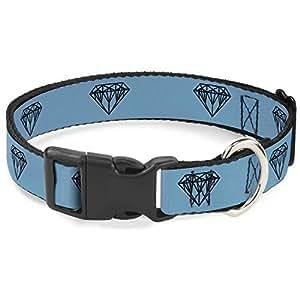 搭扣式塑料夹领 - 钻石素描蓝绿色/黑色 - 1.27 cm 宽 - 适合 20.32-30.48cm 颈部 - 中号