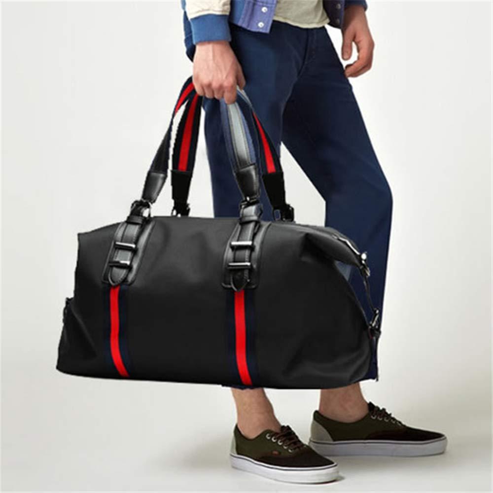 运动休闲手提旅行包健身包男士韩版出差单肩行李包男女旅游袋 (黑配红