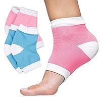 ZenToes 保湿脚跟袜 2 双凝胶内衬无趾 Spa 短袜,修复和*干燥,*时破损鞋跟 Cotton
