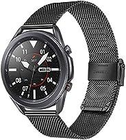 TRUMiRR 表带适用于 Galaxy Watch 3 45 毫米,网眼编织不锈钢表带快速释放表带腕带适用于三星 Galaxy Watch3 45 毫米智能手表