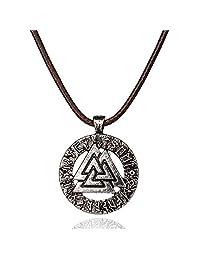 Viking Valknut 吊坠北欧战士异味符号护身符项链 男士 Celtic 珠宝