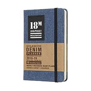 Moleskine 2018/2019:18 个月特别版牛仔蓝色口袋型每周笔记本 (18个月-2018.7-2019.12 )