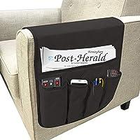 Newmeil 沙发扶手收纳袋 沙发椅 扶手收纳袋 适用于平板电脑、电视遥控器、手机 4 种颜色收纳收纳袋 35 英寸 13 英寸(黑色)