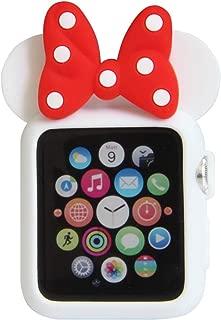 Navor 软硅胶保护套套套,迪士尼人物米老鼠耳朵兼容苹果手表 38mm 系列 1 2 3 [IWC-MK-38] White Red With Dot-38MM