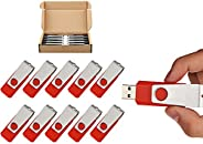 TOPSELL 10 Pack Flash Drive USB 2.0 Flash Drive Memory Stick USB Thumb Drives Pen Drive Swivel Design 红色 2GB