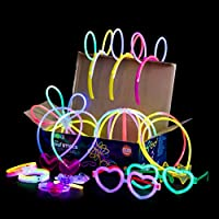 Play22 发光棒散装 500 包 - 200 支发光棒和 300 个配件 - 20.32 cm 超亮发光棒派对套装 混合颜色 - 发光棒项链和手链 适合成人和儿童