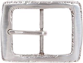 1 5/8 英寸(40 毫米)银色边缘锤纹矩形中心条皮带扣