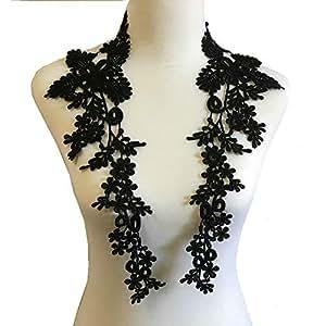1 对刺绣贴花婚礼蕾丝花卉图案缝纫装饰 黑色 Z064