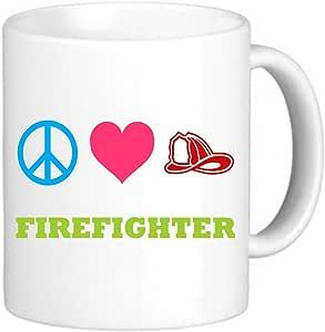 Rikki Knight Peace Love Firefighter Photo Quality Ceramic Coffee Mug, 11-Ounce