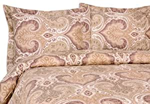 ELITE 家居产品 MILANO 佩斯利涡旋纹花呢系列300支棉缎3件套件被套 / 件被套,双人床/加大双人床,蓝色