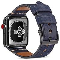 沃卒(WOOZU) Apple Watch表带真皮 苹果手表4代表带 Apple Watch Series 4疯马纹磨砂表带 Apple Watch 4表带牛皮 iWatch 44mm表带 Apple Watch 44mm表带 Apple Watch保护套保护壳(44mm) (44mm, 深蓝)