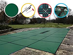 Water Warden Pool Safety Cover Green with Center Step 18 by 36-Feet Pool