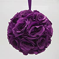 Firefly Imports Flower Kissing Balls Pomander Pom Pom Wedding Centerpiece, Purple