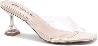 Shoe Land Celebrate 露趾露趾露背细高跟,Perspex 鞋面一脚蹬凉鞋