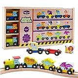 Wooden Train Set 12 件,磁性铁路,适合 2-3 岁-4 岁以上的儿童,可与所有主要品牌的火车玩具组合,木质盒和套 Animal Train