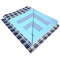 "LiveSimpli 优质防滑尿*床垫幼儿垫(137.16 厘米 x 86.36 厘米) 防水机洗x2022;大号床单保护膜,带 8 杯吸收和防漏边缘 蓝色(Blue Plaid) 34"" X 54"""