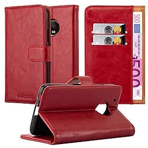 Cadorabo 手机壳适用于联想 (Motorola) Moto G5 Plus 书籍保护套(奢华设计) - 带磁扣,支架功能和卡槽 - 钱包式手机壳 Etui 盖袋 PU 皮革翻盖DE-115813 *红色