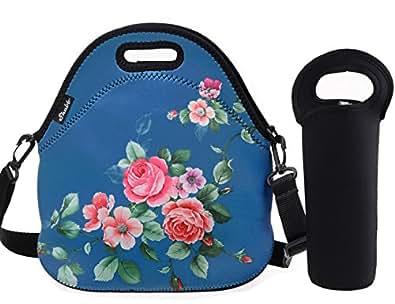 Shubb 大午餐袋套装氯丁橡胶保温午餐袋手提袋配可拆卸肩带和奶瓶套 Blue Flower 大