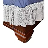 Home-X - 白色蕾丝扇形弹性床套,轻松贴合,床罩床裙 | 单人床/普通双人床
