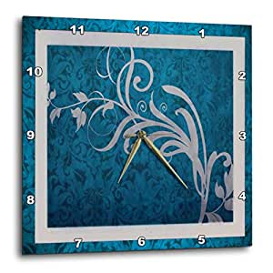 3dRose dpp_18382_1 Tapestry in Teal Wall Clock, 10 by 10""