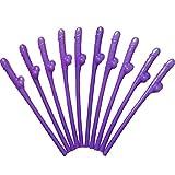 单身女郎派对吸管 - 紫色新娘淋浴。 25 和 50 包可选。 趣味派对礼物 - 适合Hens Party 女孩夜晚外出,Wild College 女孩派对 紫色