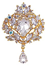 Danbihuabi 透明玻璃花胸针首饰 5 Syles 金色