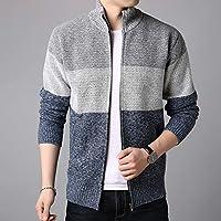 夷榀 男士外套春秋针织衫开衫薄绒立领男士拉链毛衣外套
