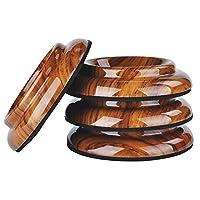 NUZAMAS 4 件套直立钢琴脚垫垫木地板地毯保护垫防滑深棕色