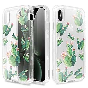 iPhone Xs/iPhone X 手机壳,AICase 防震花花朵图案透明透明设计后壳带 TPU 缓冲保护套适用于 Apple 5.8 英寸 iPhone X (2018)/iPhone X (2017) Cactus