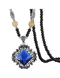 Jude Jewelers 复古串珠长款毛衣时尚项链吊坠 蓝色