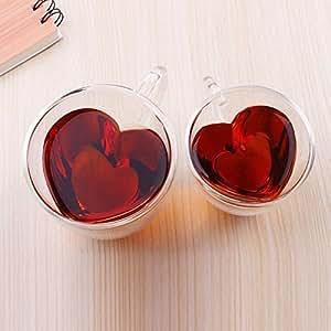 Xiaolanwelc@ 玻璃茶杯带手柄心形透明双壁爱好者咖啡下午茶双层玻璃马克杯 透明 240ml 43217-73279