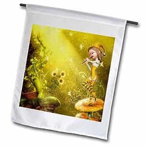3dRose fl_181725_1 小可爱小精灵玩喇叭蝴蝶舞蹈至歌花园旗,30.48 x 45.72 厘米