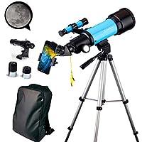 EastPole 70 毫米望远镜,适合初学者和儿童,折射器旅行镜适用于观察月亮观察户外活动,FMC 镜头,BAK4 棱镜,三脚架和 2019 新款智能手机支架 天蓝色
