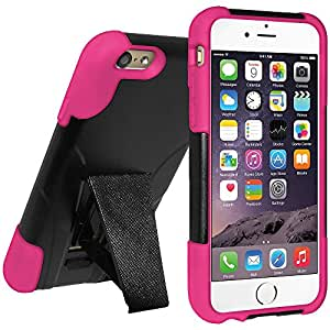 Amzer Double Layer Hybrid Case Cover with Kickstand for Apple iPhone 6 Plus - Retail Packaging - Black/Hot Pink