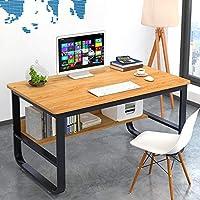 书桌学生学习桌子台式电脑桌笔记本加粗钢木桌家用简约办公桌经济型卧室小桌 (加粗黄梨木色(100x60))