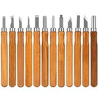 木质雕刻工具套装,12 件套 SK5 碳钢木雕工具刀套装手工雕刻刀,适用于儿童成人和初学者专业可重复使用
