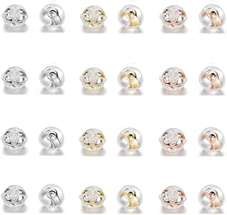 12 件耳环背部填充蘑菇风格柔软*透明硅胶和铜(多色)
