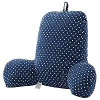 亚麻座椅腰靠 座椅靠垫 简约办公室抱枕棉麻靠枕护腰枕沙发靠背 (深蓝色波点)
