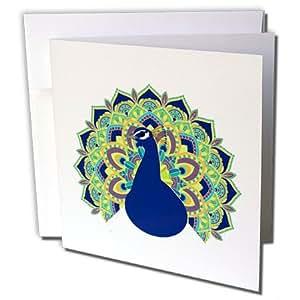 Janna Salak 设计曼荼罗动物 - 曼荼罗孔雀 - 贺卡 Individual Greeting Card